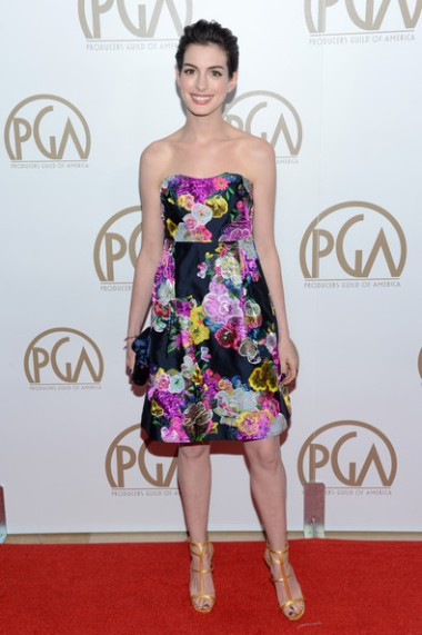 Anne+Hathaway+Dresses+Skirts+Print+Dress+7GyAjhWqhGAl