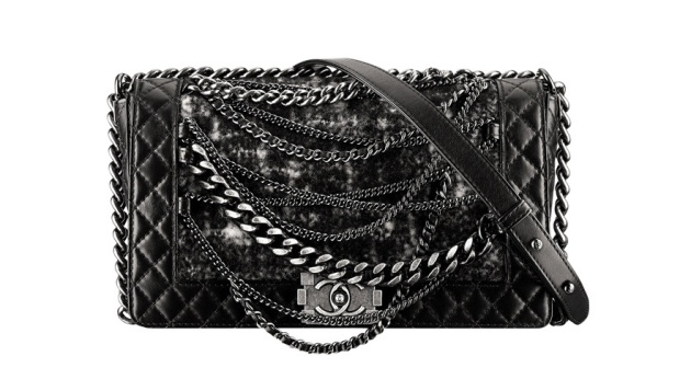 Chanel, padded leather and tweed, boy bag with chains