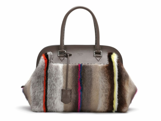 Fendi, leather and striped mink fur, Adele bag