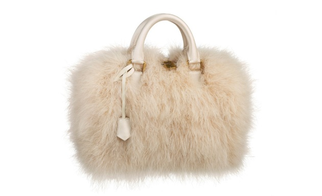 Louis Vuitton, Ivory marabou feather, speedy bag