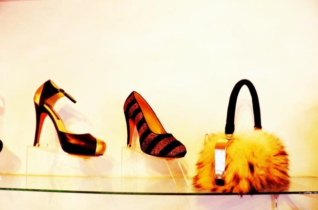 Bolso en piel y zapatos de fiesta