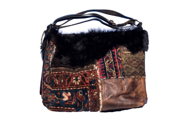 Ralph Lauren collection, patchwork shearling leather and tapestry bag