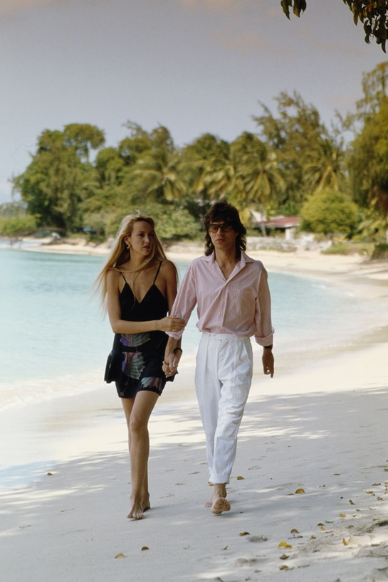 jerry hall + mick jagger mustique